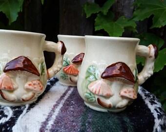 Vintage 1970's (3) Made in Japan 3-Dimensional Mushroom Mugs