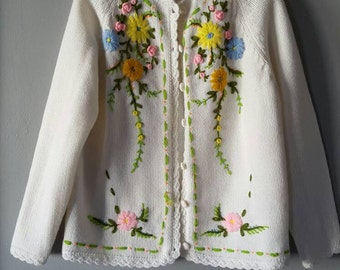 Vintage Embroidered Cardigan Sweater Marianne Fashions Cottage Chic Preppy Size Large