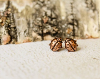Ladybug Earring Studs, Available in Aged Copper and Antiqued Gold, Stainless Steel Posts