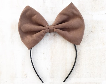 Brown faux suede bow headband