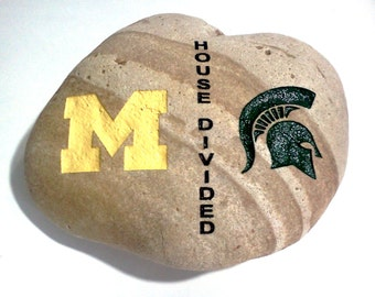 House Divided Sports Engraved Stone