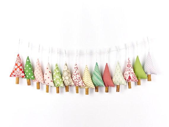 Woodland Christmas Tree Ornaments Rustic Polka Dot Linen