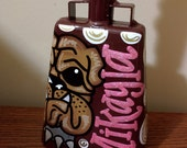 Maroon Bulldog Hand Painted Cowbell with Pink Glitter Name