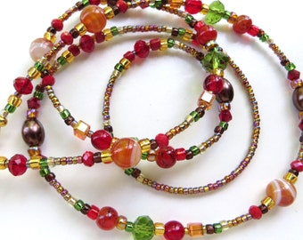 ELEGANT AUTUMN- Beaded Eyeglass Chain- Agate Gemstones, Czech Glass Beads, Pearls, and Sparkling Crystals