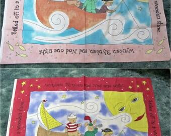 2 Panels Wynken Blynken and Nod Fabric Quilt Wall Hanging Jan Leslie Material