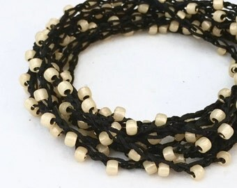 Beaded crochet triple wrap necklace or bracelet Japanese toho glass beads BLACK