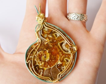 Giant Ammonite Fossil Pendant - Wire Wrapped - Gold and Teal Wire