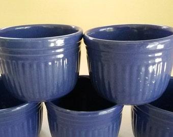 Set (5) Large Vintage RAMEKINS Royal Blue Stoneware 16 oz. Oven Safe Baking Dish / USA