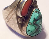 Vintage Sterling Silver with Turquoise and Coral Ring Size 10 1/2