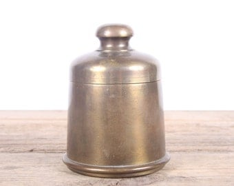 Vintage Brass Tobacco Humidor / Cigar Humidor / Brass Tobacco Jar / Vintage Container / Brass Box / Tobacco Canister / Man Cave Decor