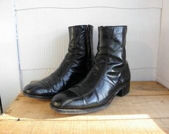 Sz 8 FLORSHEIM Vintage Black Leather Beatle Boots MEN