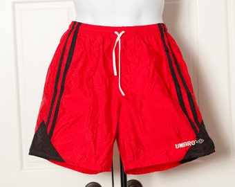 Vintage 80s 90s UMBRO red and black athletic shorts - L