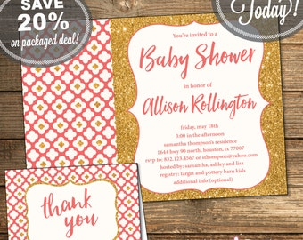 Baby Shower Package, Invitation, Thank You Card, Baby Girl, Coral, Gold Glitter, Flowers, Geometric, Printable File (INSTANT Download)