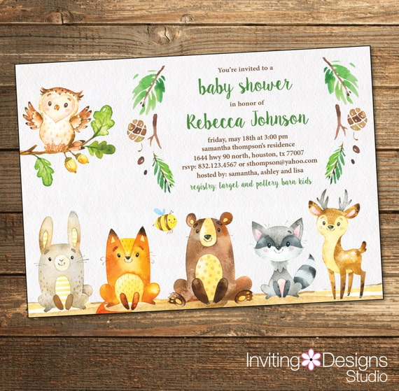 woodland baby shower invitation rustic woodland friends