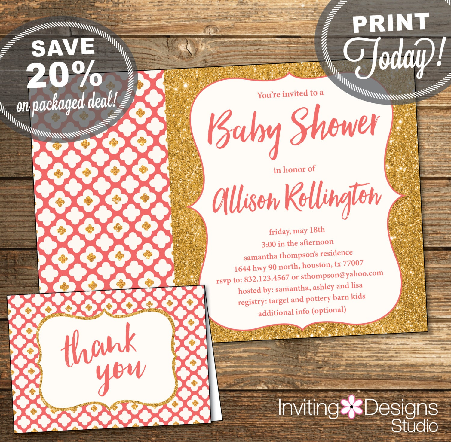 baby shower package invitation thank you card baby girl