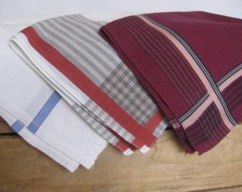 Mens Cotton Handkerchiefs Lot of THREE White Burgundy Hankies Mens Hankies MyVintageTable