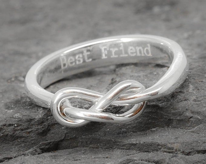 Infinity Ring, Maid of honor Gift, Knot, Best friend, Promise, Personalized, Friendship, Sisters Ring, Mother Daughter, Bridesmaid Gift