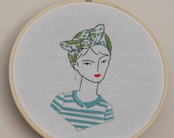 Hand embroidery, interior decoration,illustration, portrait