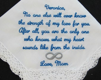 Wedding Handkerchief from the Mother of the Bride to the Bride