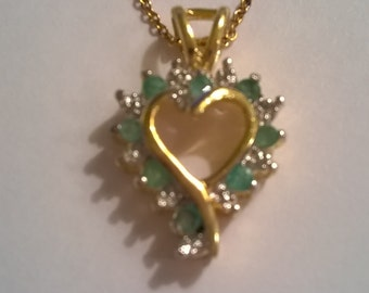 Gold Plated Sterling Silver Open Heart Pendant - Emeralds and Diamond Accents - Vintage Vermeil Necklace with Delicate Chain - Made in Italy