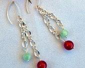 Amazonite & Carnelian Dangle Earrings - Dangle Earrings - Drop Earrings - Red and Green Earrings - July Birthstone - Chain