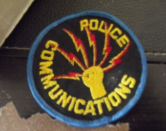 Vintage Police Communications Department New York Iron On Patch Lightning Fist