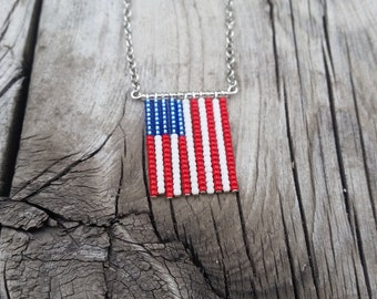 Patriotic necklace - American Flag beaded jewelry. Perfect for all summer festivities, great gift for military spouses & loved ones!