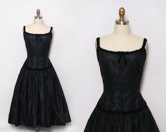 Vintage Theater Costume / Black Steampunk Party Dress / 1980s Victorian Style Dress / Size Small
