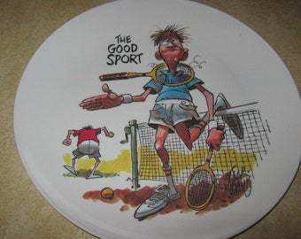 Jack Davis Cartoonist The Good Sport Tennis Boontonware Collectors Plate