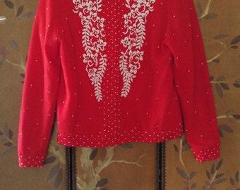 60s red beaded lambswool cardigan