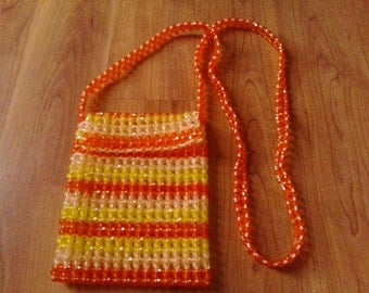 60s crystal plastic beaded orange and yellow purse