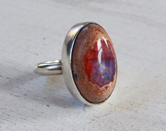 Mexican Fire Opal Ring, Purple Opal Gemstone Ring, Opal Bezel Set Ring, Oval Stone Ring, One of a Kind Statement Ring