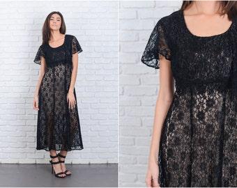 Vintage 80s Black Maxi Lace Dress Crochet Lace Sheer Small S Retro 6790 vintage dress black dress maxi dress lace dress small dress