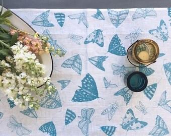 Blue Moths linen table runner