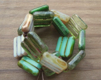 Green Mix with Picasso Czech Pressed Glass Tabular Rectangle Beads 15x12mm New (15)
