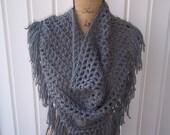 Ready to Ship Crochet Gray Triangle Fringe BoHo Scarf/Wrap w/Button