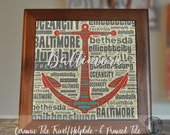 """Trivet Hot Plate:  Baltimore Anchor Typography     6"""" Ceramic Tile Trivet Kitchen AccessoryProduct Sizes and Pricing via Dropdown Menu"""