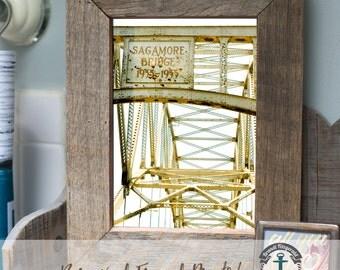 Sagamore Bridge Cape Cod - Framed Print in Reclaimed Barnwood Beach House Style - Handmade Ready to Hang | Size & Price via Dropdown