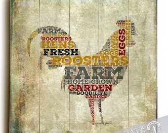 Wood Sign: Farmhouse Rooster Typography Printed Direct On Wood. Farm Americana Wall Decor Ready to Hang