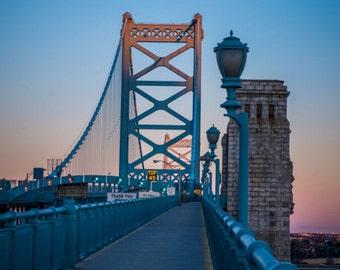 Ben Franklin Bridge at Sundown Philadelphia Product Options and Pricing via Dropdown Menu