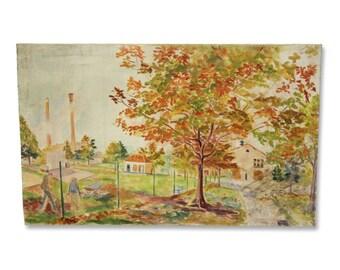 Vintage foliage landscape painting on thin canvas