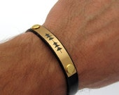 Mens Bracelet - Custom Soudwave Leather Bracelet - Fathers Day Gift. Mens Gifts. Gifts for Him.Customized, Voice Recording Anniversary Gift