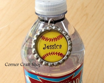 1 Personalized Name Softball Team Bottle Cap  Water Bottle Charm,  Drink tag,  Bottle Label, Sports Bottle Tag  Coach Gift, Team Favors