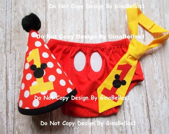 Mickey Mouse cake smash Birthday outfit costume boy first clubhouse I am one tie Red hat diaper cover 6 9 12 18 24 toddler SALE GinaBellas1
