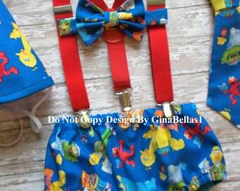Elmo Birthday outfit cake smash Sesame street suspenders diaper cover Bow OR I am One tie big bird Burt Ernie optional Hat 12 18 24 toddler