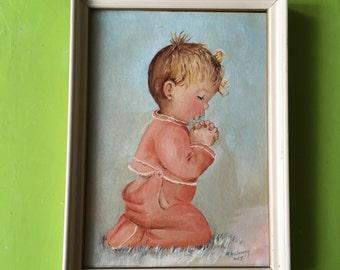 Baby boy praying vintage painting