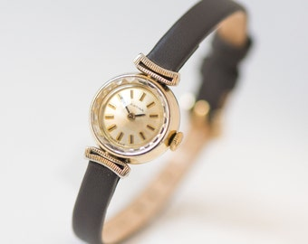 Retro Certina woman's watch, tiny gold plated AU 20 Swiss lady watch, 60s fashion classy ladies watch gift, premium leather strap new