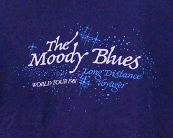 Vintage 80s 1981 The Moody Blues Long Distance Voyager World Tour Dark Blue T-Shirt, Large