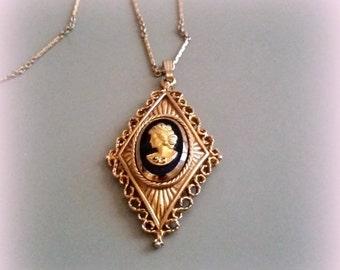 FALL SALE AVON Cameo Pendant necklace - Gold Tone Black - Filigree Border