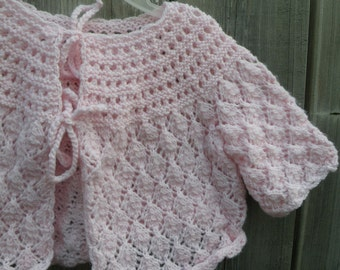 Vintage Hand Knit Newborn Pink  Baby Sweater Girl